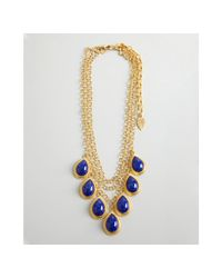 David Aubrey - Gold and Blue Glass Teardrop Multi Chain Necklace - Lyst
