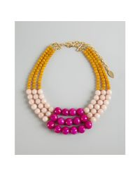 David Aubrey | Pink Light Pink and Yellow Multi Stone Bib Necklace | Lyst