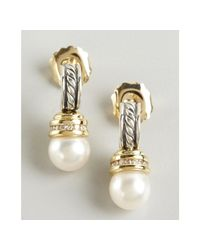 David Yurman - Metallic Silver and Gold Twisted Cable Pearl and Diamond Drop Earrings - Lyst