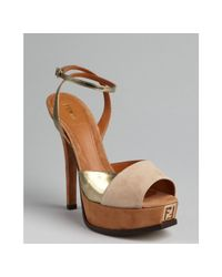 Fendi - Brown Camel Suede and Gold Patent Leather Twotone Sandals - Lyst