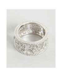 Judith Ripka - Metallic White Sapphire and Silver Wide Fleur Band - Lyst