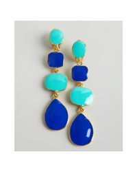 Kenneth Jay Lane - Metallic Blue and Turquoise Tiered Enamel Drop Clip On Earrings - Lyst