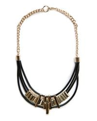 Mango - Black Leather Cords Necklace - Lyst