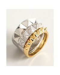 Noir Jewelry - Metallic Set Of 3 Gold Silver and Crystal Spiked Rings - Lyst