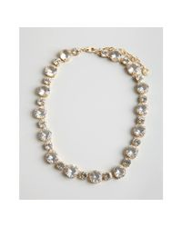 R.j. Graziano - Metallic Gold and Large Crystal Chain Necklace - Lyst