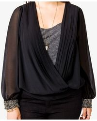 Forever 21 - Black Metallic Beaded Surplice Top - Lyst