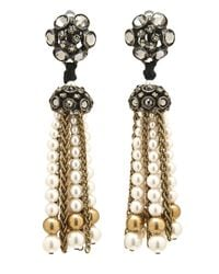 Lanvin | White Crystal Bow Drop Earrings | Lyst