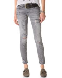 Current/Elliott - Gray The Shredded Stiletto Jeans - Lyst