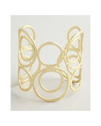 Kenneth Jay Lane | Metallic Gold Hammered Swirl Cuff | Lyst