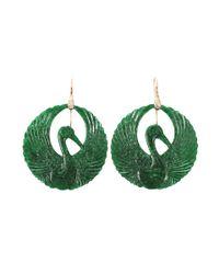 Lucifer Vir Honestus - Green Carved Jade Bird Earrings - Lyst
