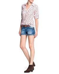 Mango - Pink Printed Cotton Shirt - Lyst