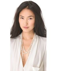 Ginette NY - Metallic Sautoir Necklace with Cultured Freshwater Pearls - Lyst