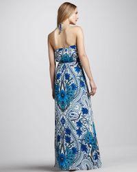Madison Marcus - Blue Paisleyprint Halter Maxi Dress - Lyst