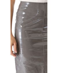 Maison Ullens - Gray Laminated Leather Skirt - Lyst