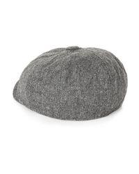 TOPMAN - Gray Premium Grey Fleece Short Peak Cap for Men - Lyst