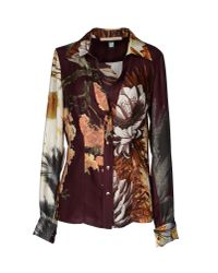 Class Roberto Cavalli | Brown Printed Cotton and Silk-blend Shirt | Lyst