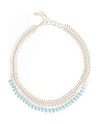 Elizabeth Cole | Metallic Rose Goldplated Swarovski Crystal Necklace | Lyst