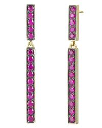 Finn - Purple Long Ruby Stick Earring - Lyst