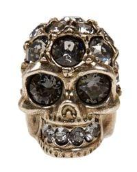 Alexander McQueen | Metallic Crystal Encrusted Skull Ring | Lyst
