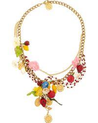 Dolce & Gabbana - Metallic Estate Goldplated Garnet Necklace - Lyst