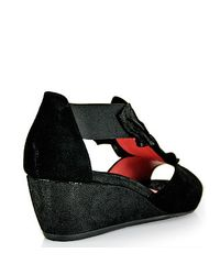 Pas De Rouge | E931 Nori Peep Toe Wedge in Black Suede | Lyst