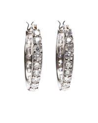 Brooks Brothers   Metallic Cubic Zirconia Hoop Earrings   Lyst