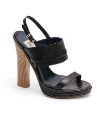Brooks Brothers | Black Pebble Leather Sandal | Lyst
