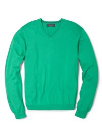 Brooks Brothers   Green Supima Vneck Sweater for Men   Lyst