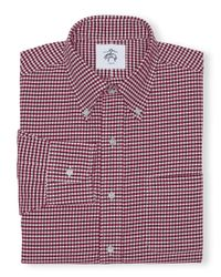 Brooks Brothers - Pink Black Fleece Gingham Button-Down Shirt for Men - Lyst