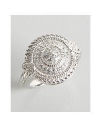 Judith Ripka | Metallic White Sapphire and Sterling Silver Circle Ring | Lyst