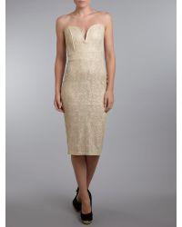 TFNC London - Natural Strapless Midi Dress - Lyst