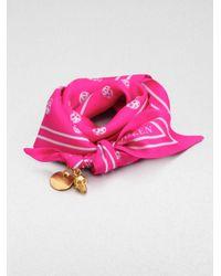 Alexander McQueen - Pink Skull Print Silk Tie Bracelet - Lyst