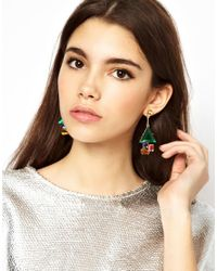 ASOS - Multicolor Diamond Drop Earring - Lyst