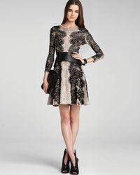 BCBGMAXAZRIA | Black Dress Alma Relief Jacquard Lace Aline | Lyst