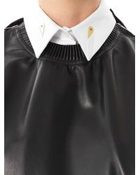 Givenchy   Black Zipped Shoulder Leather Sweatshirt   Lyst