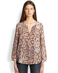 Joie - Brown Purine Silk Pythonprint Blouse - Lyst