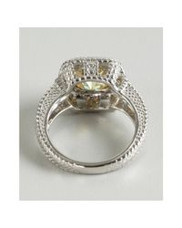 Judith Ripka - Metallic Canary Crystal and White Sapphire Cushion Ring - Lyst