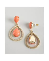 R.j. Graziano | Red Coral and Gold Crystal Encrusted Drop Earrings | Lyst
