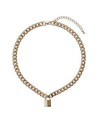 TOPSHOP - Metallic Padlock Chain Necklace - Lyst