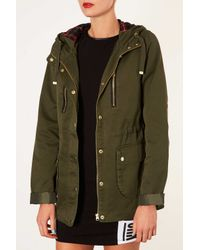 TOPSHOP - Green Tall Hooded Lightweight Jacket - Lyst