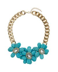 TOPSHOP | Blue Turquoise Flower Curb Chain | Lyst