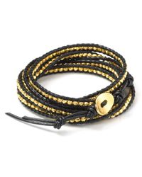 Chan Luu - Black Leather Wrap Bracelet with Gold Nuggets 32 - Lyst