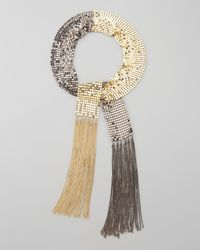 Colette Malouf | Metallic Twotone Chainmail Lariat Necklace | Lyst