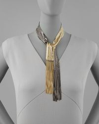 Colette Malouf - Metallic Twotone Chainmail Lariat Necklace - Lyst