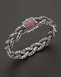 John Hardy - Metallic Exclusive Classic Chain Silver Small Braided Bracelet With Pink Sapphire - Lyst