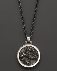 John Hardy - Black Mens Naga Silver Round Pendant Necklace 24 for Men - Lyst