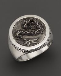 John Hardy | Metallic Men'S Naga Silver Round Ring for Men | Lyst