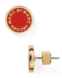 Marc By Marc Jacobs | Red Enamel Logo Disc Stud Earrings | Lyst