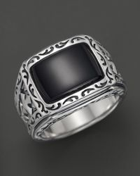 Scott Kay - Metallic Men'S Sterling Silver Engraved Ring With Onyx for Men - Lyst