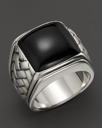 Scott Kay | Metallic Sterling Silver Basketweave Ring With Onyx Center | Lyst